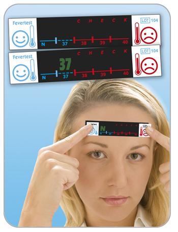 Fevertest Misuratore Febbre o Temperatura Corporea Frontale Termometro 2 Strisce